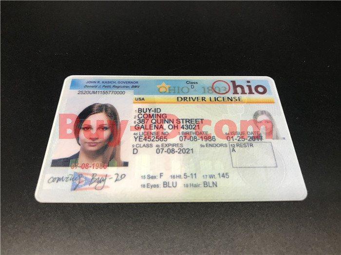Premium Scannable Old Ohio State Fake ID Card Positive Display
