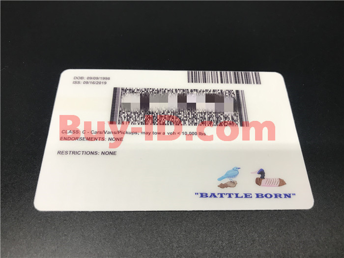 Premium Scannable Nevada State Fake ID Card Back Display
