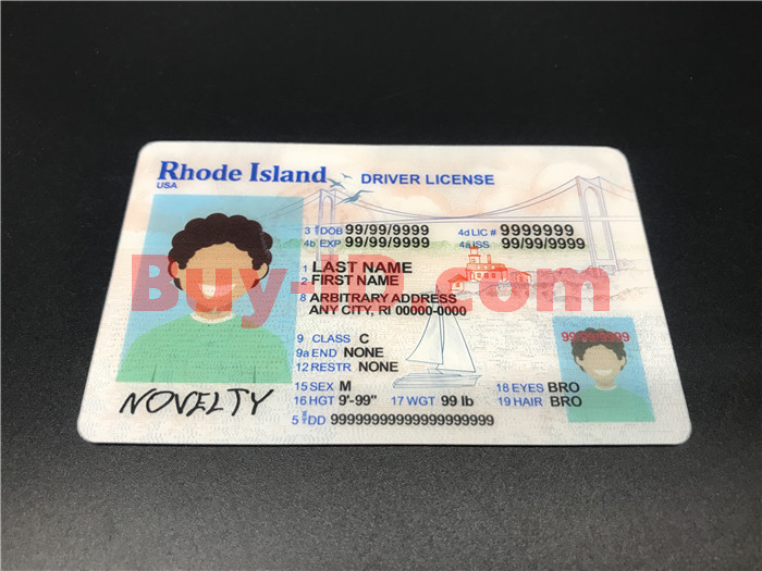 Premium Scannable New Rhode Island State Fake ID Card Positive Display
