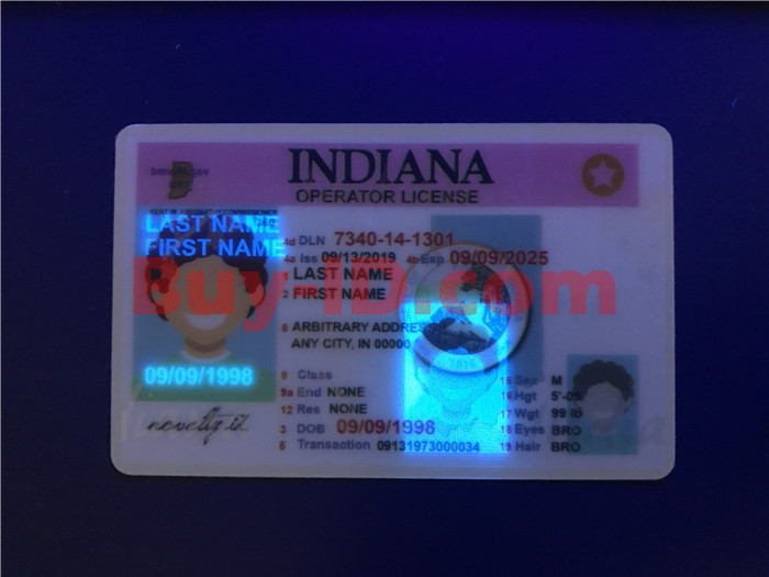 Premium Scannable Indiana State Fake ID Card UV Anti-Counterfeiting Layer