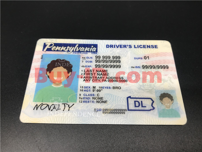 Premium Scannable Pennsylvania State Fake ID Card Positive Display