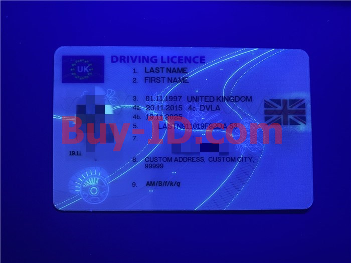 Premium Scannable United Kingdom Fake ID Card UV Anti-Counterfeiting Layer