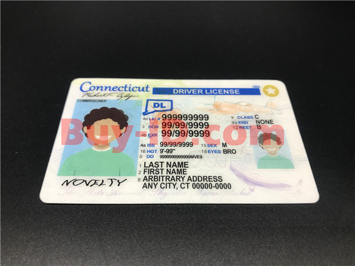 Premium Scannable New Connecticut State Fake ID Card Positive Display
