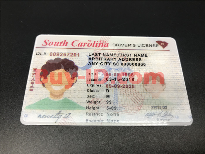 Premium Scannable Old South Carolina State Fake ID Card Positive Display