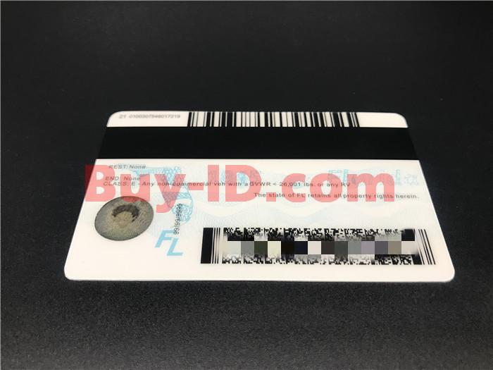 Premium Scannable Florida State Fake ID Card Back Display