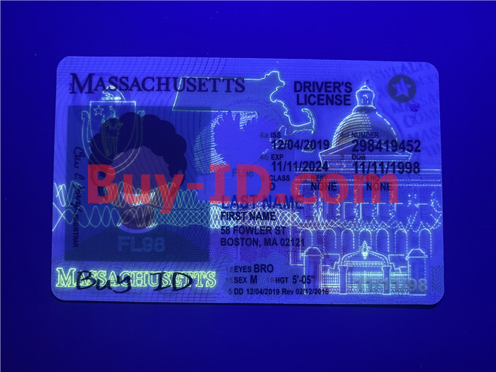 Premium Scannable Massachusetts State Fake ID Card UV Anti-Counterfeiting Layer
