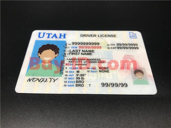 Premium Scannable Utah State Fake ID Card Positive Display